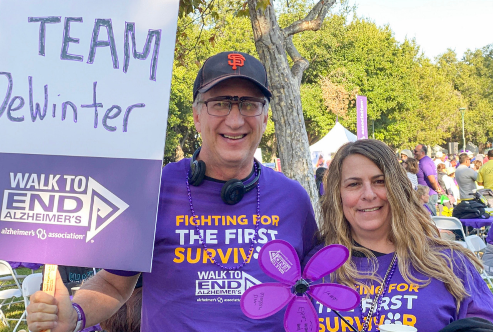 David Gleit and Denise Cavallaro at the 2019 San Jose Walk to End Alzheimer's Representing DeWinter Group!